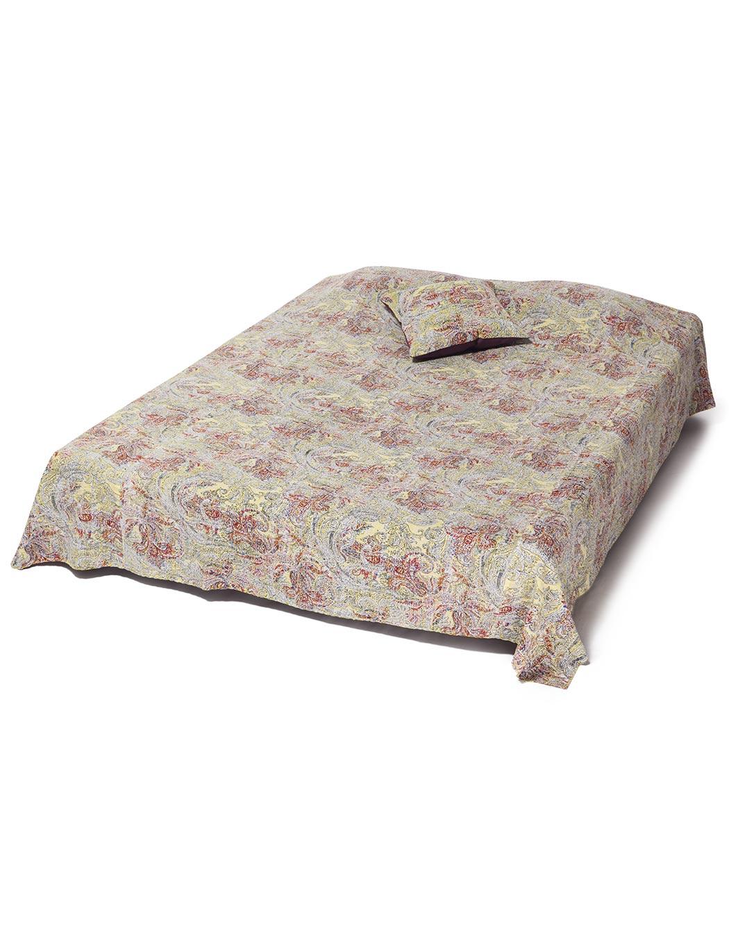 Jeté de lit surpiqué en coton lemon 140 x 230