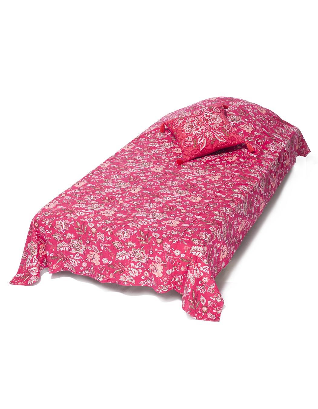 Jeté de lit surpiqué en coton magenta 140 x 230