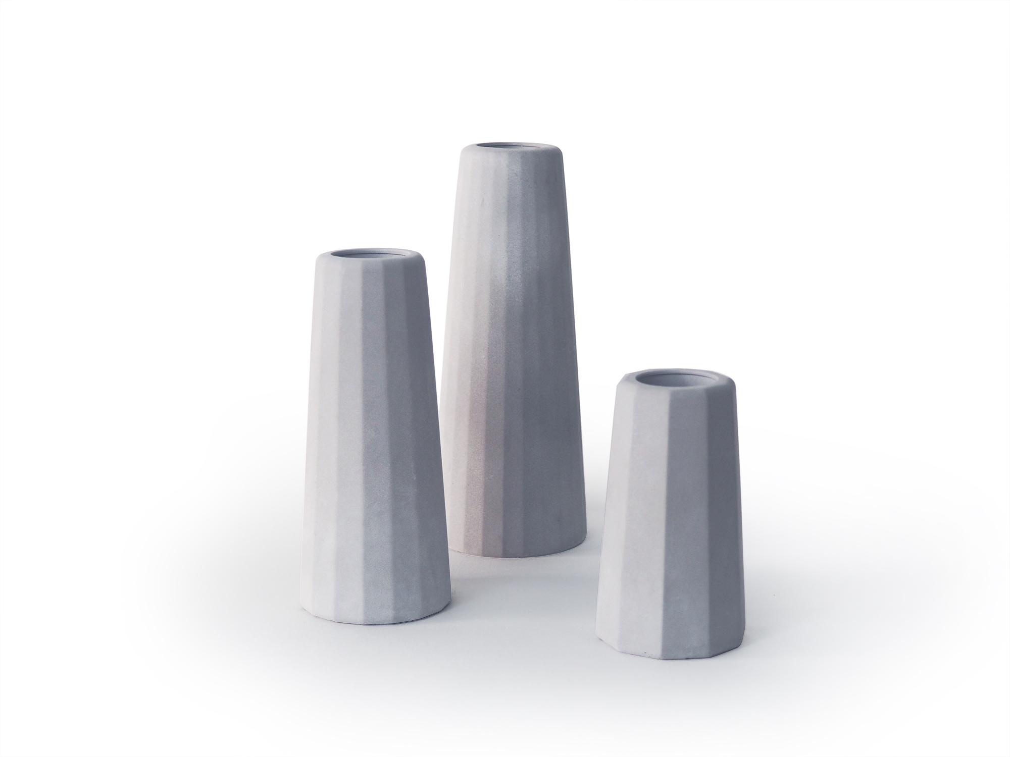 Trio de vases soliflores en béton