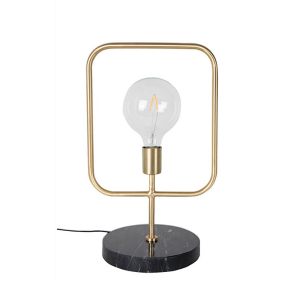 Lampe à poser industrielle métal et marbre or
