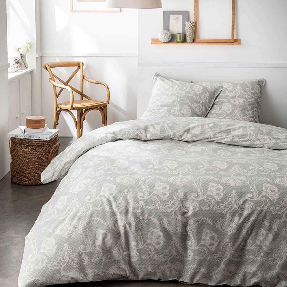 Parure de lit 2 personnes imprimé bohème en Coton Gris 220x240 cm