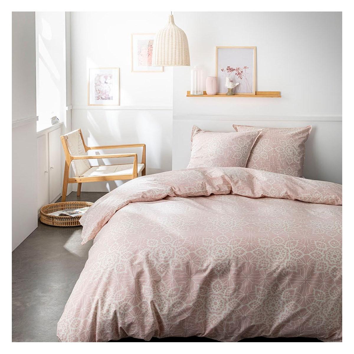 Parure de lit 2 personnes imprimé bohème en Coton Rose 220x240 cm