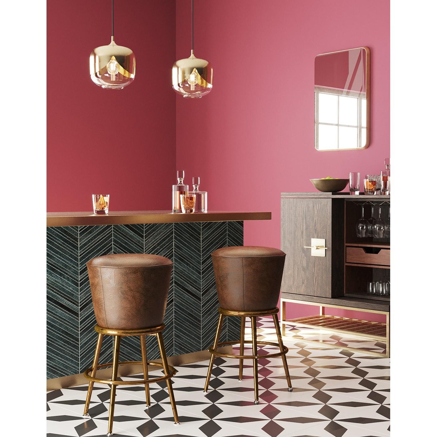 Tabouret de bar vintage marron et acier doré