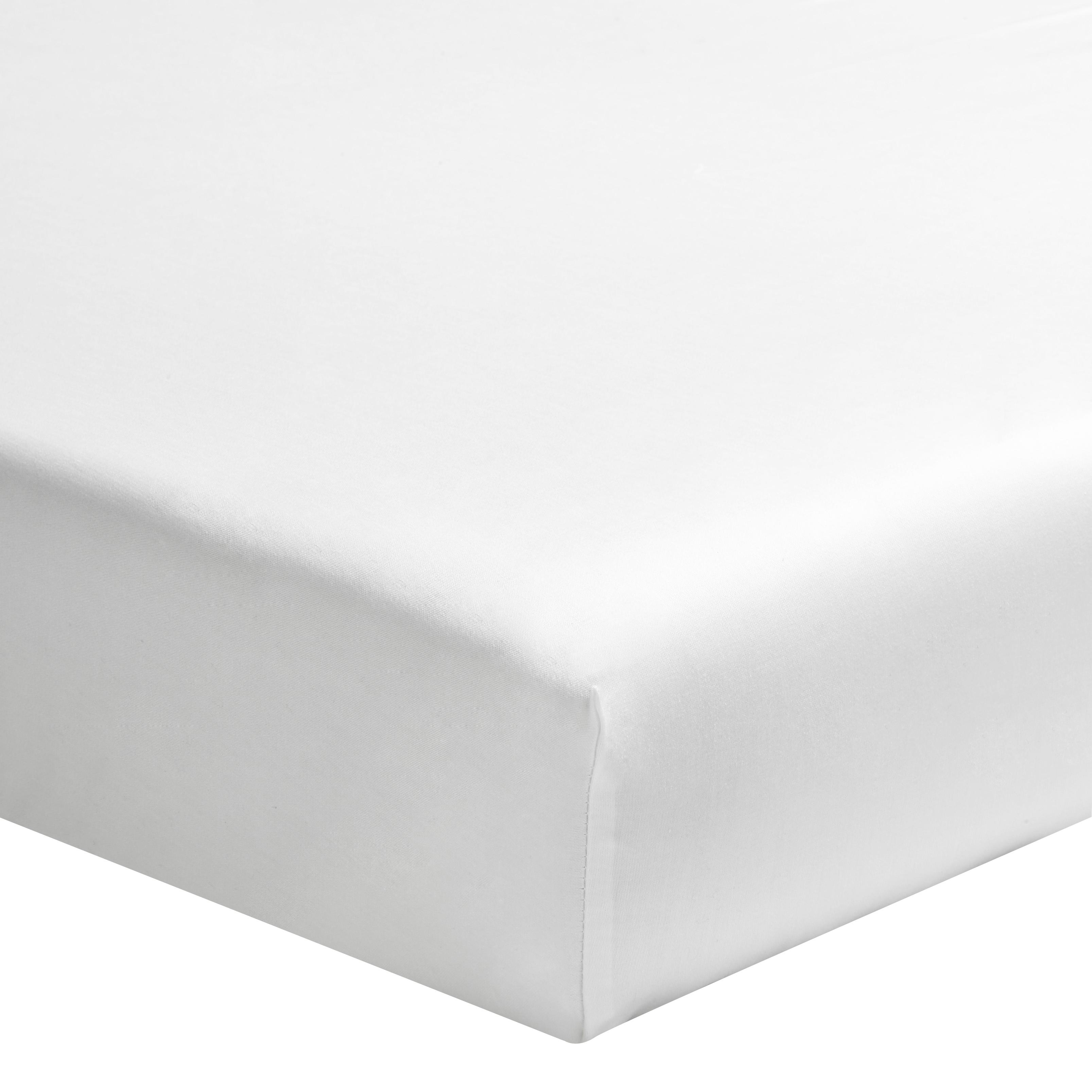 Drap housse uni en percale de coton blanc 160x220