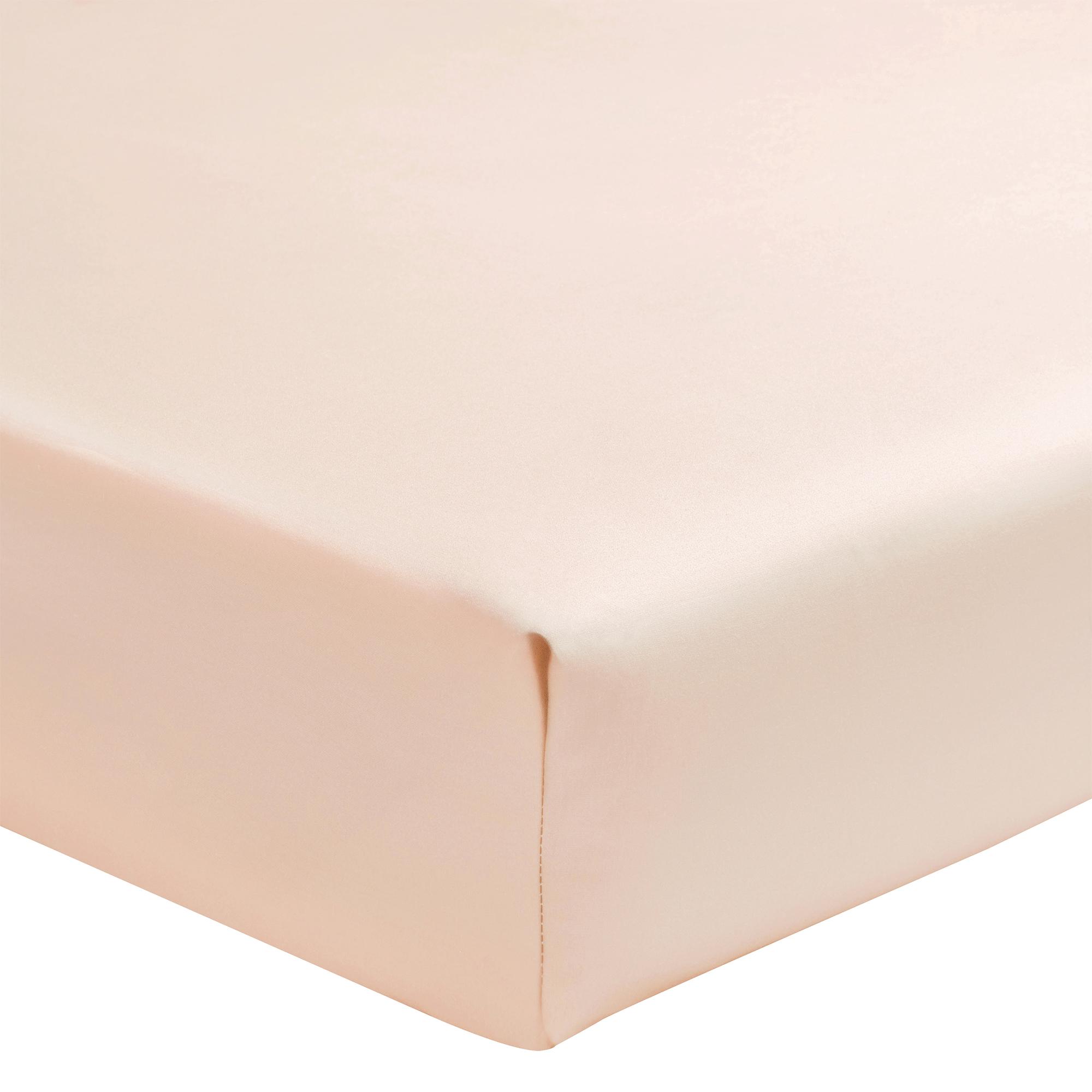 Drap housse uni en percale de coton rose 140x190