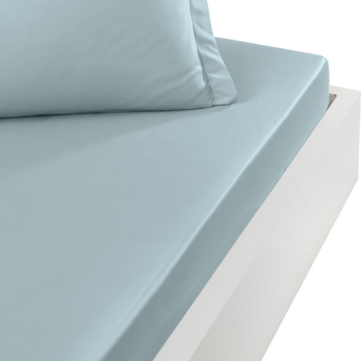 Drap housse en percale de coton bon Bleu Arctic 160x200 cm