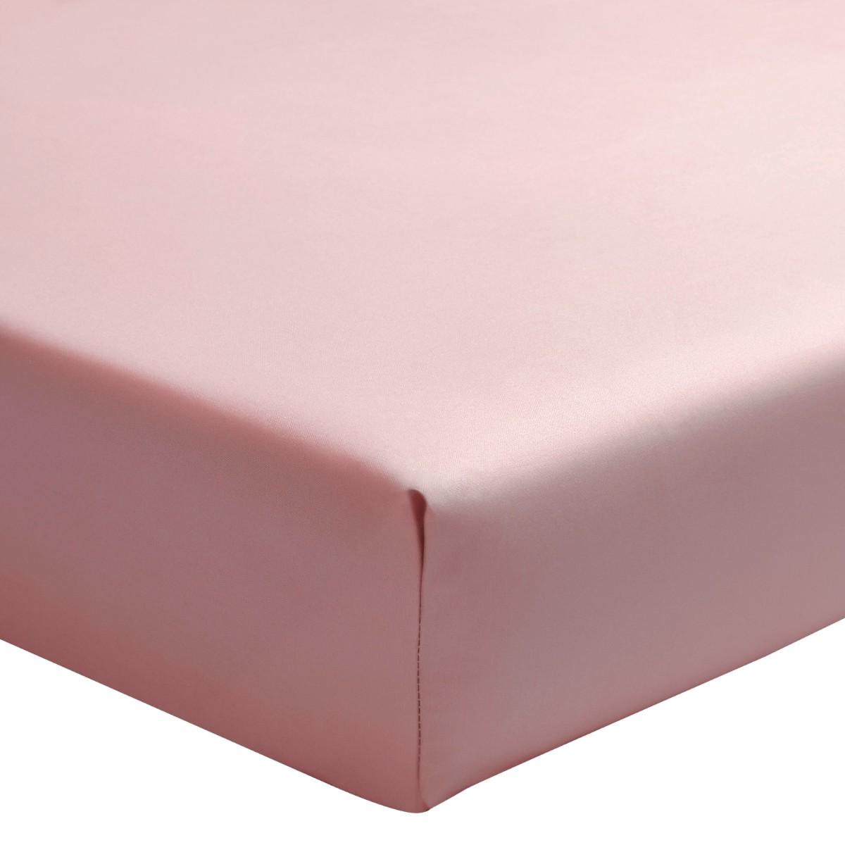 Drap housse uni en percale de coton rose 100x200