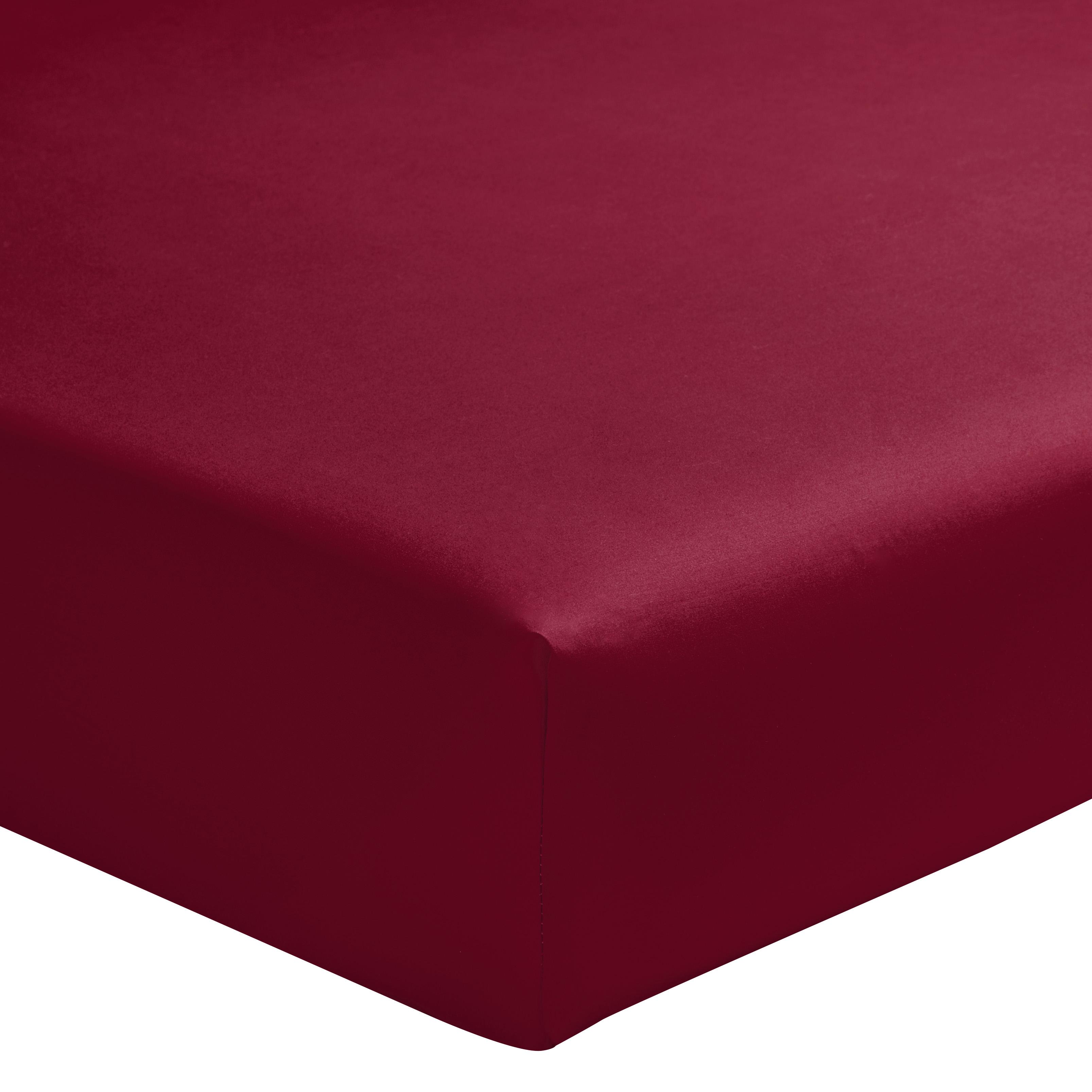 Drap housse uni en percale de coton rouge 180x200