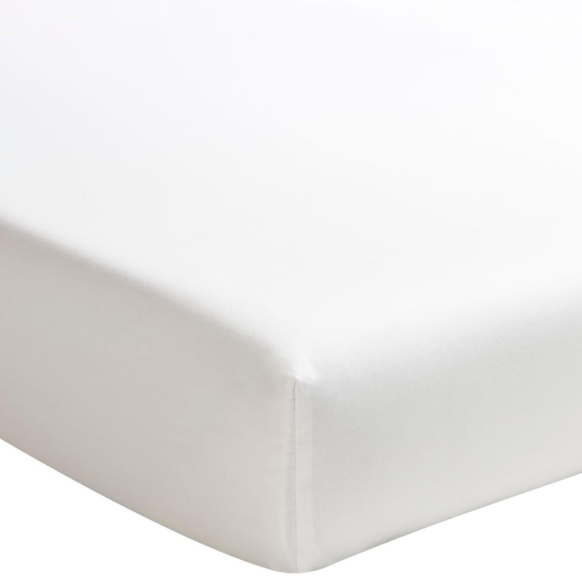 Drap housse uni en percale de coton meringue 90x220