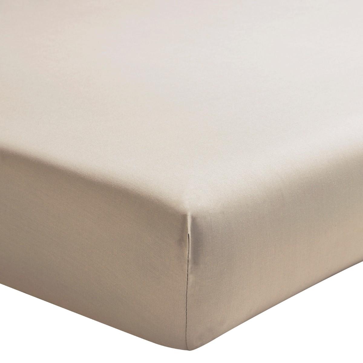 Drap housse uni en percale de coton lin 90x190