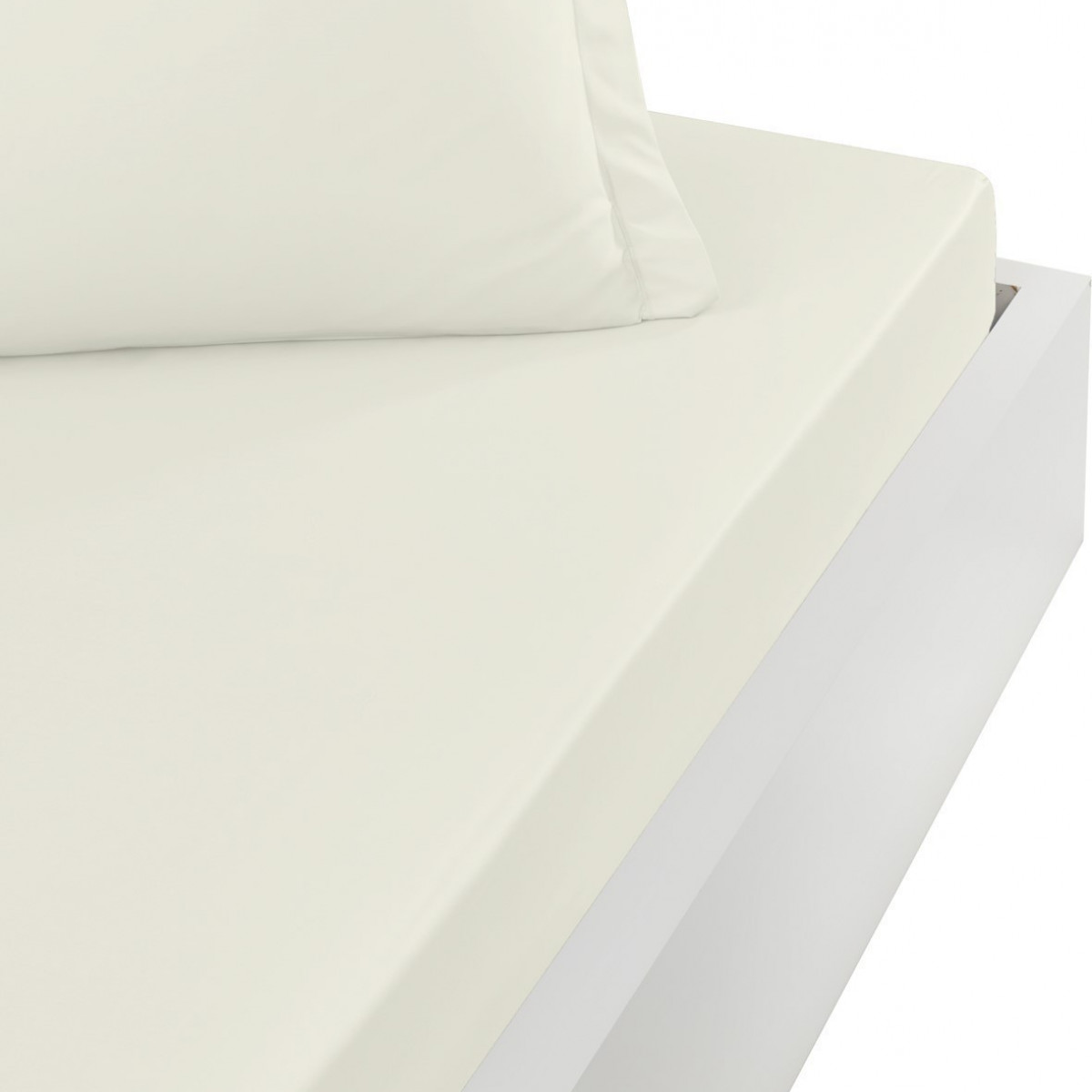 Drap housse en percale de coton bon Ecru 140x200 cm