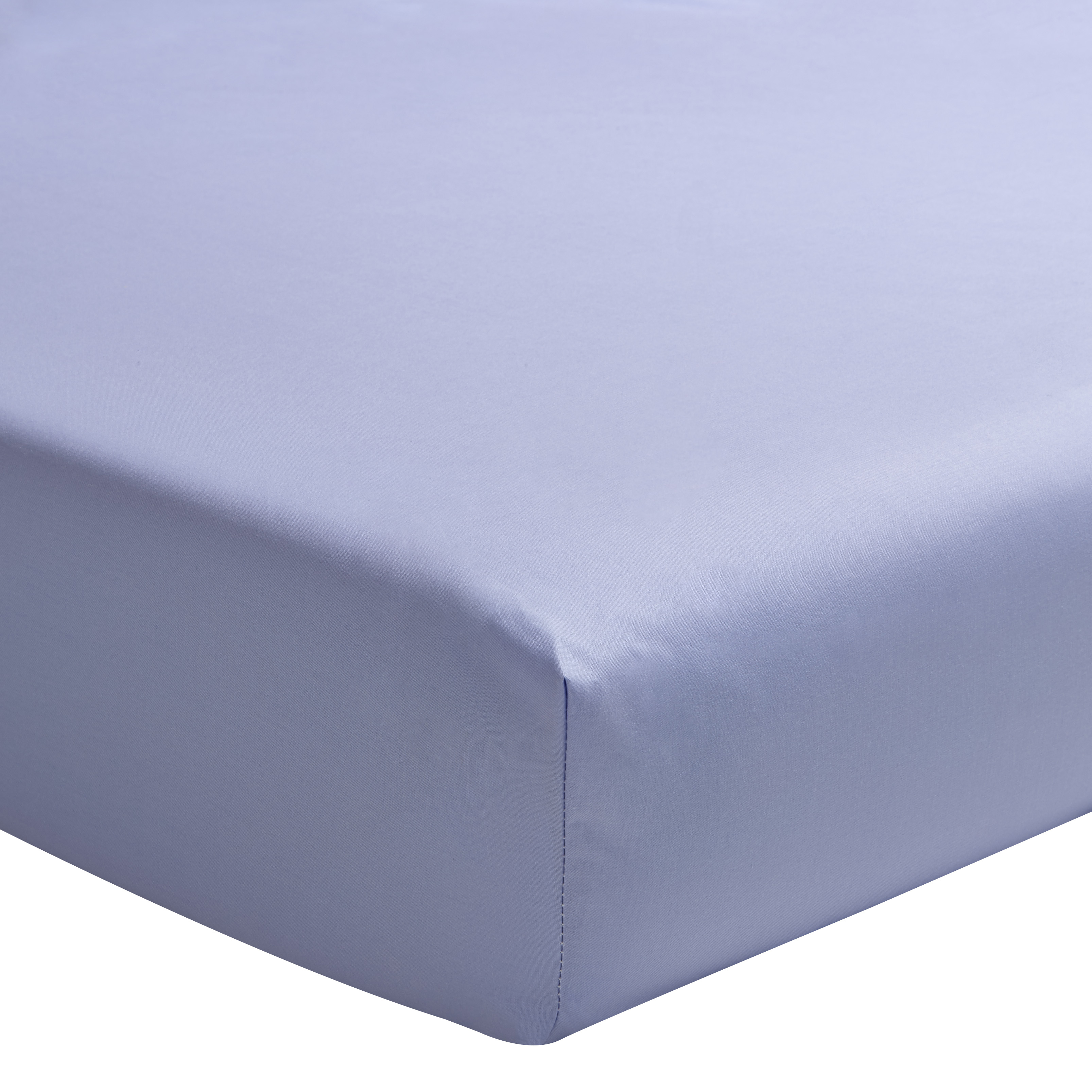 Drap housse uni en percale de coton bleu  100x200