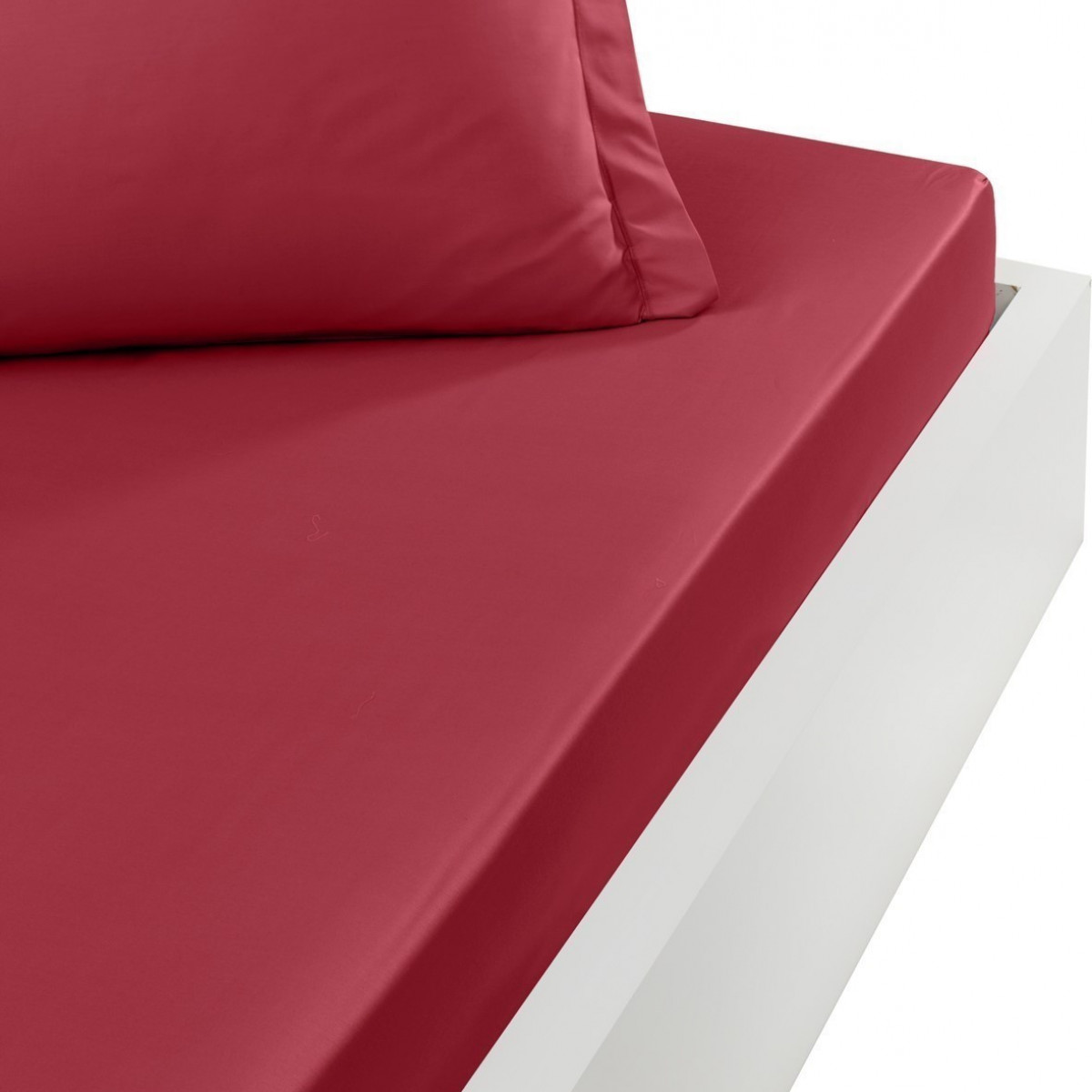 Drap housse en percale de coton bon Cardinal 120x190 cm