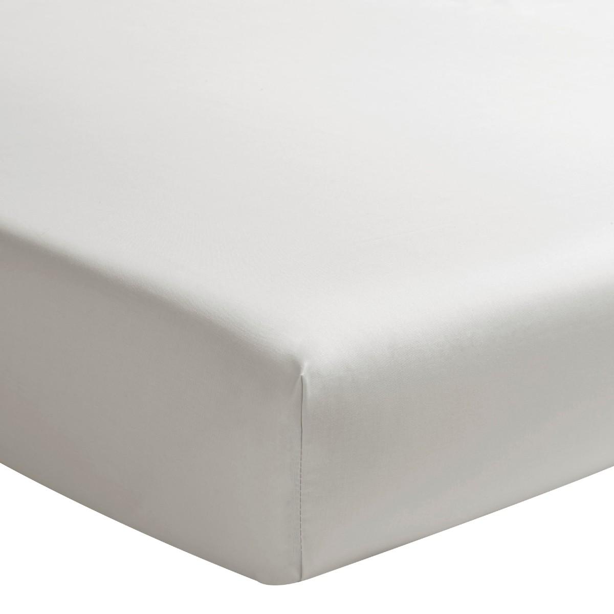 Drap housse uni en percale de coton gris 160x220