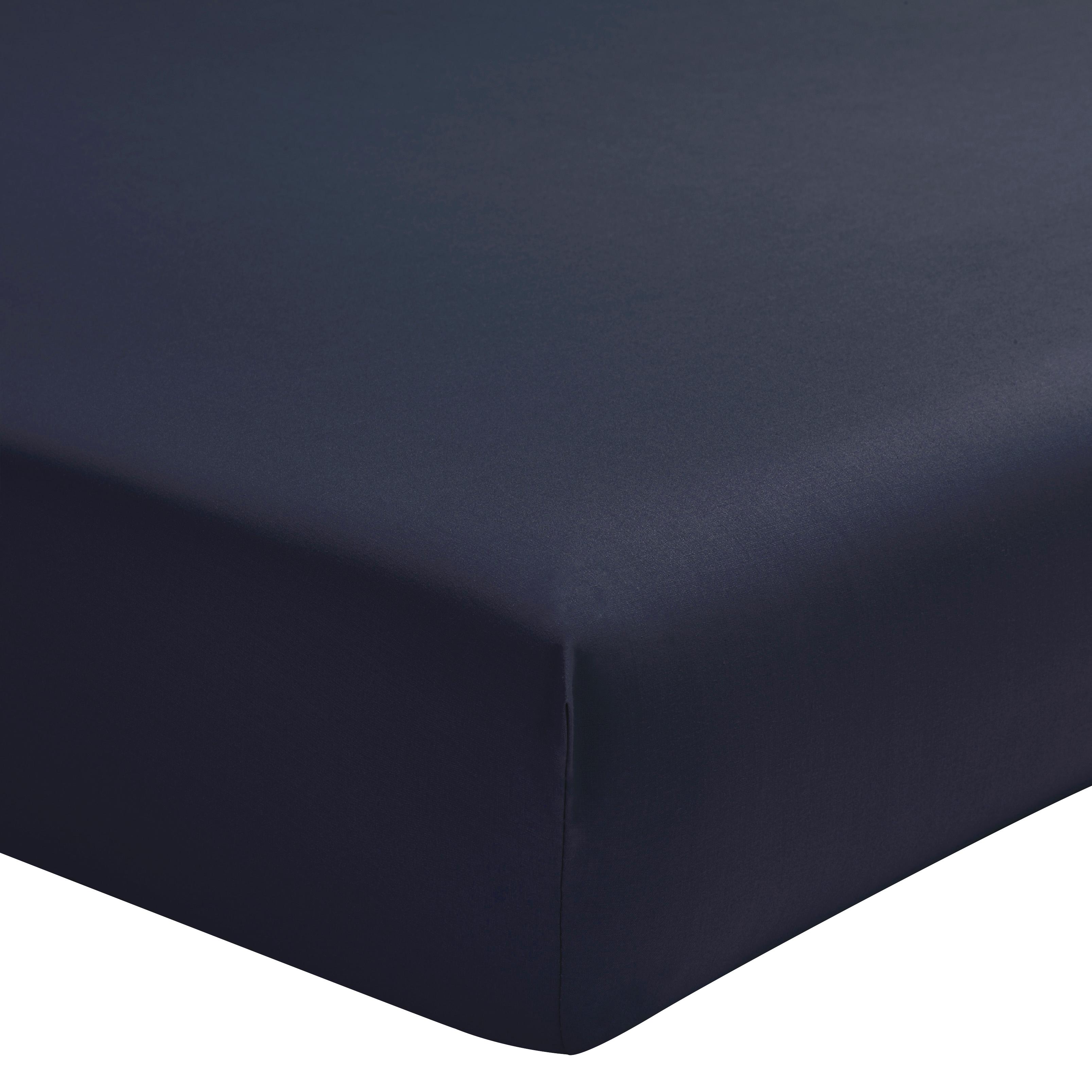 Drap housse uni en percale de coton bleu 140x200