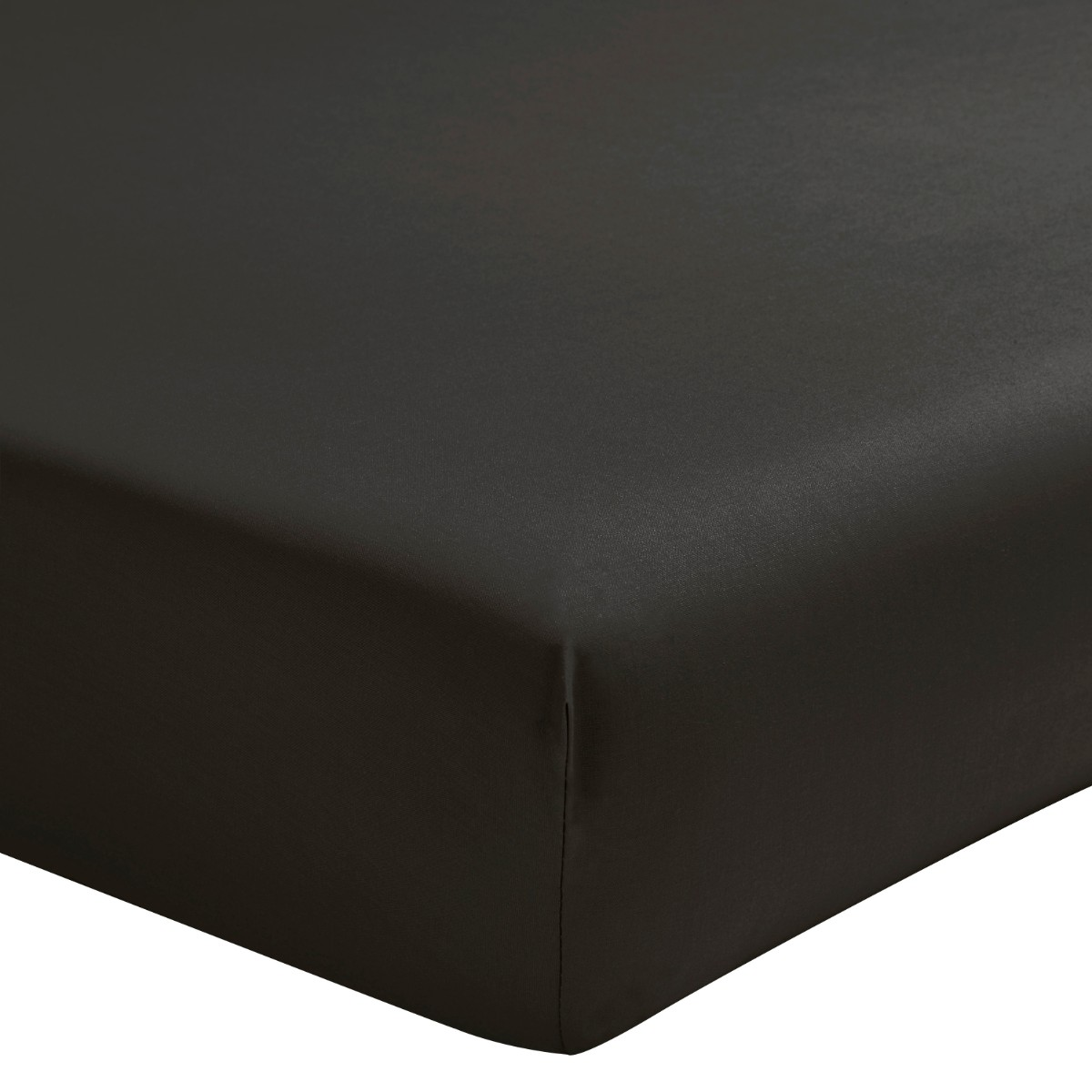 Drap housse uni en percale de coton gris 160x200