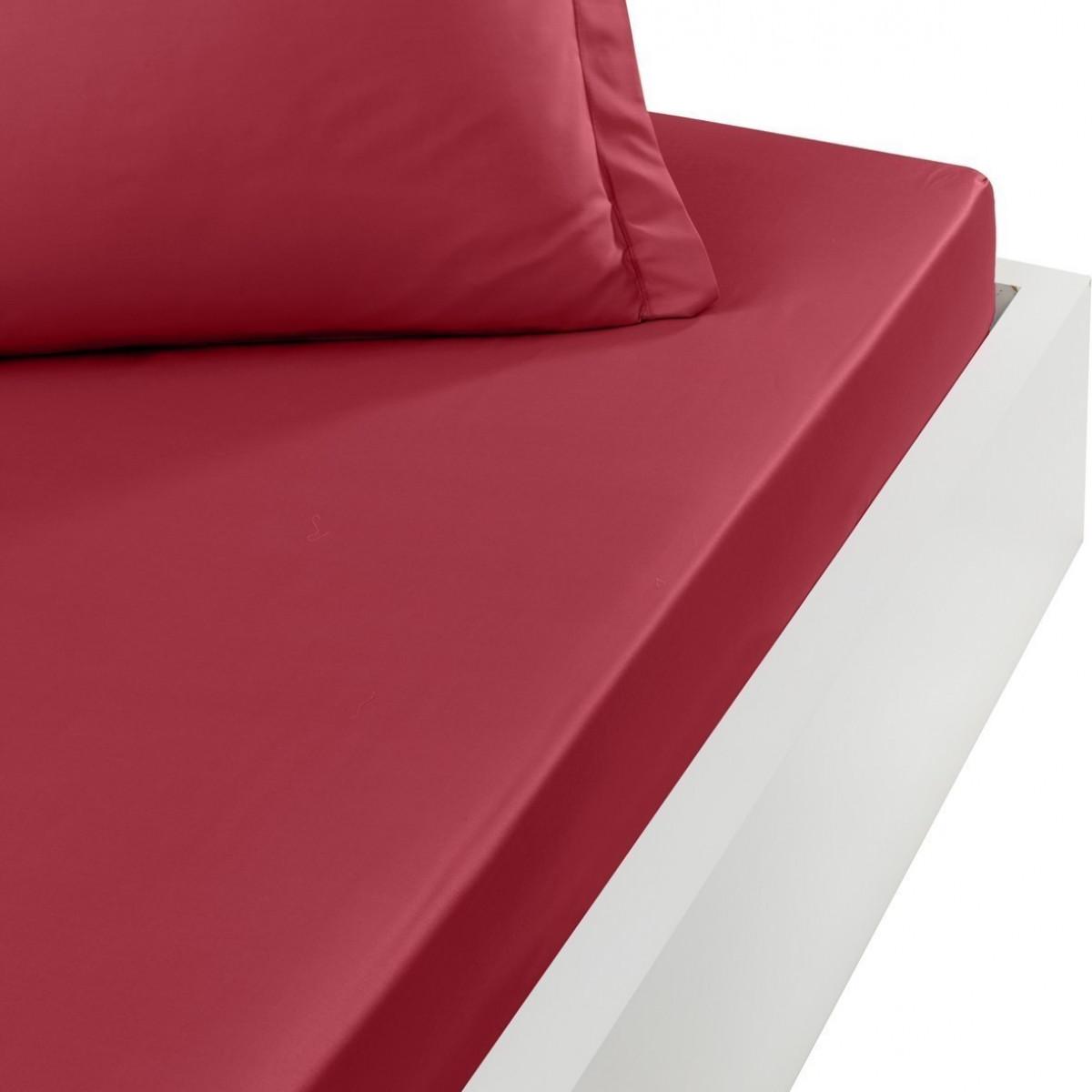 Drap housse en percale de coton bon Cardinal 140x190 cm