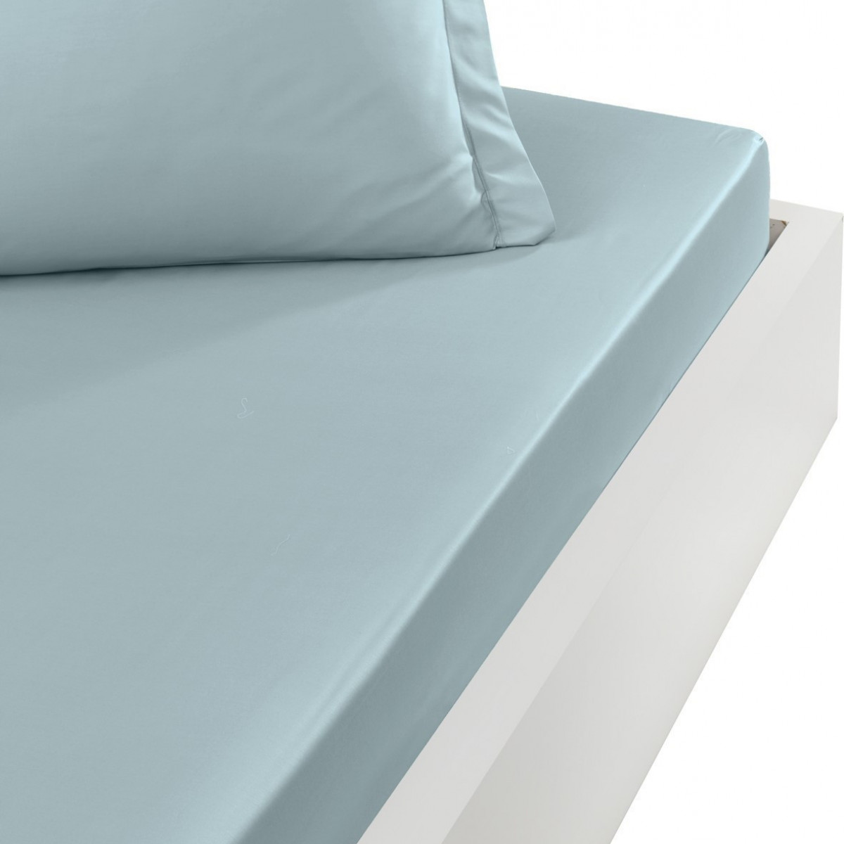 Drap housse en percale de coton bon Bleu Arctic 90x200 cm