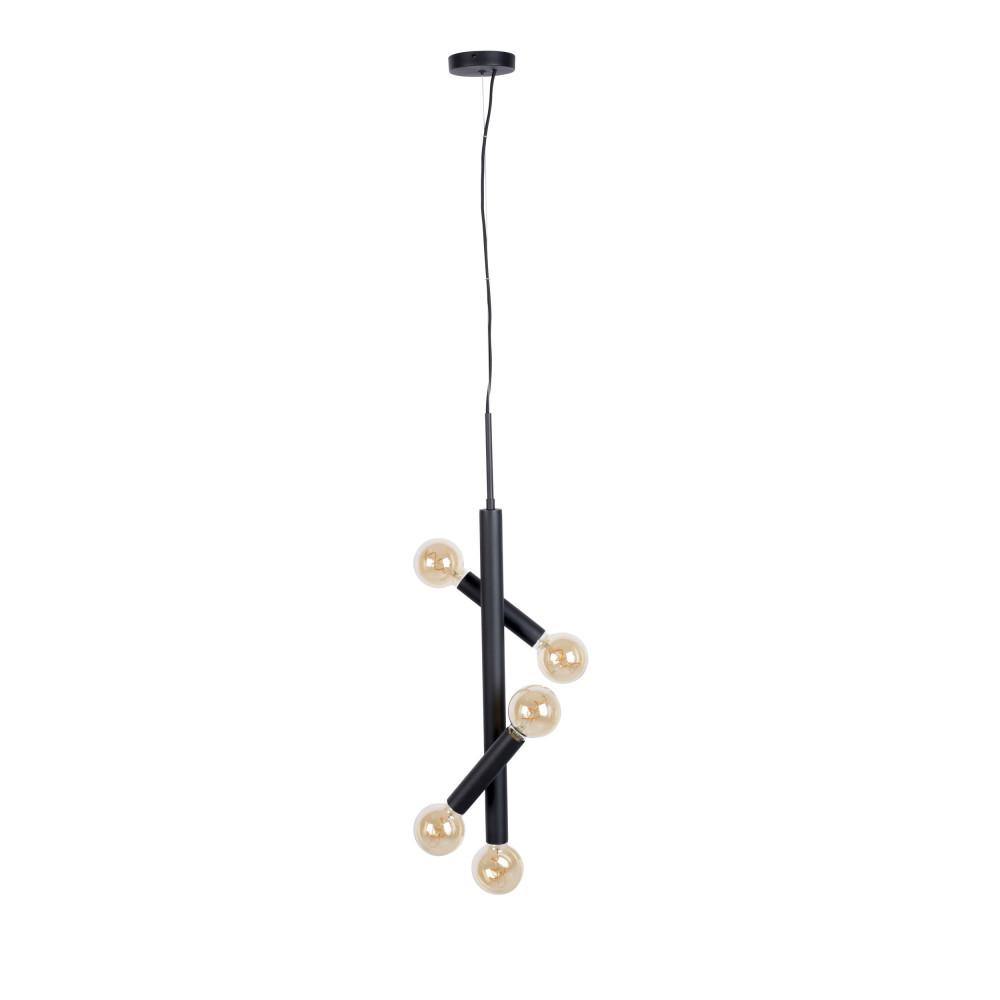 Suspension en métal 5 ampoules noir