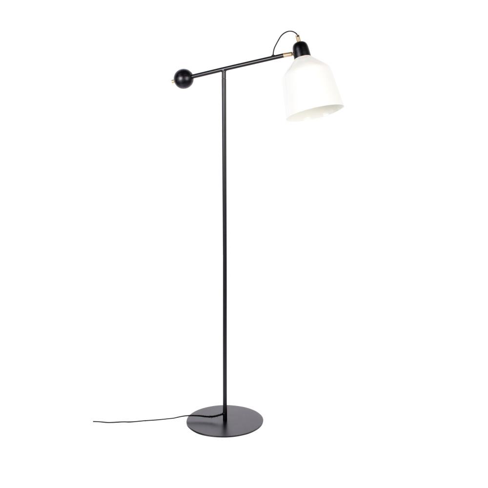 Lampadaire design en métal noir  et  blanc