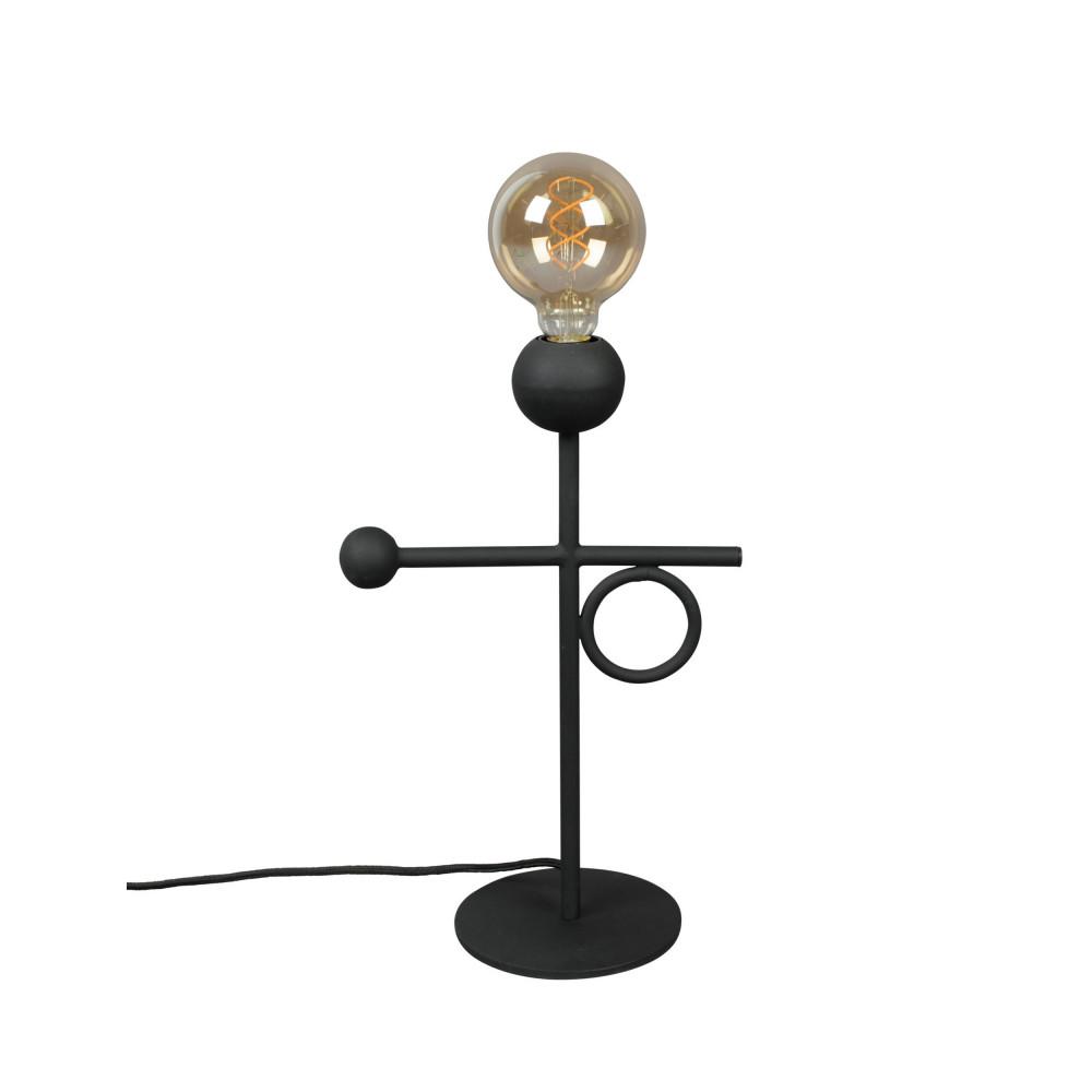 Lampe à poser à franges en métal noir