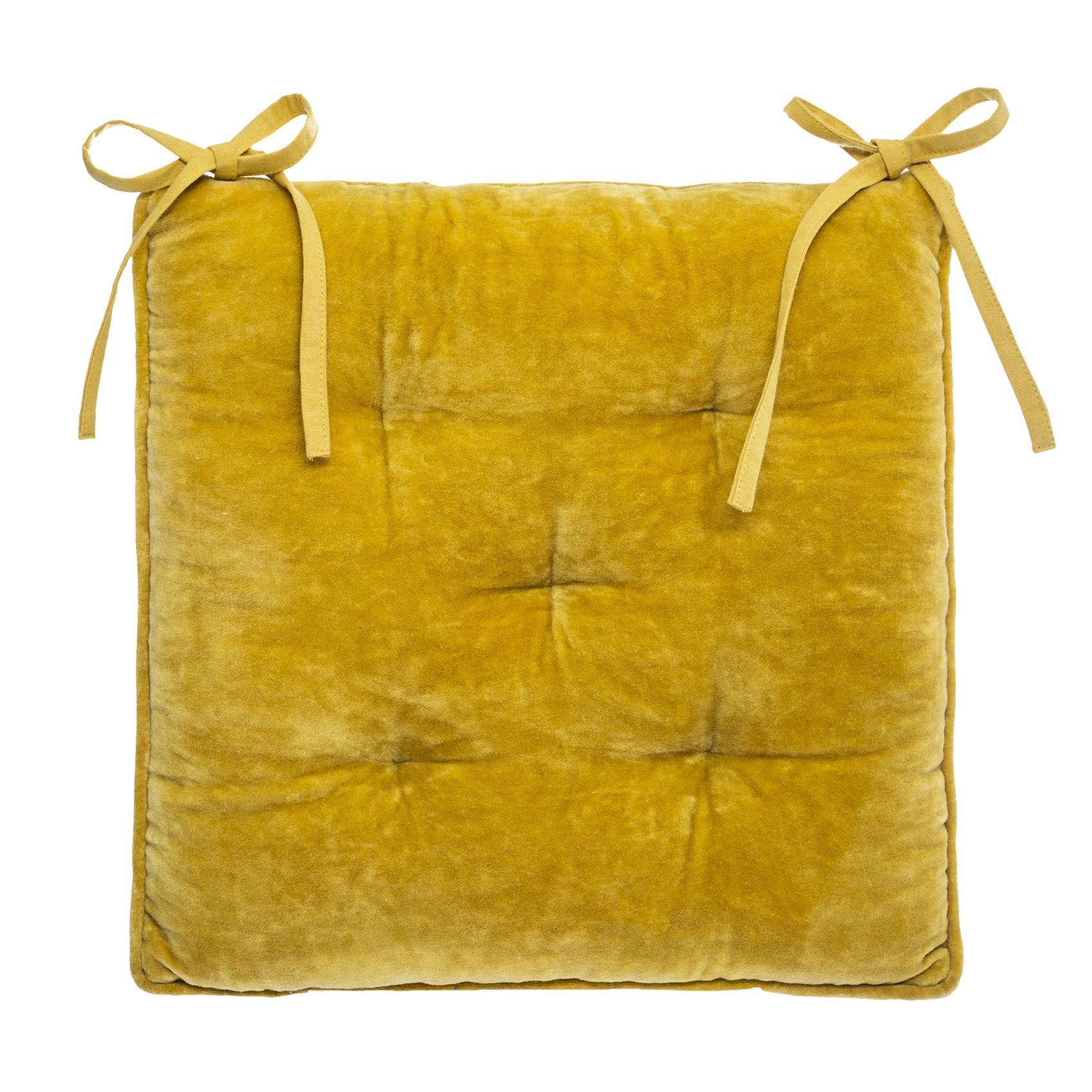 Galette de chaise épaisse en velours coton ocre 38x38