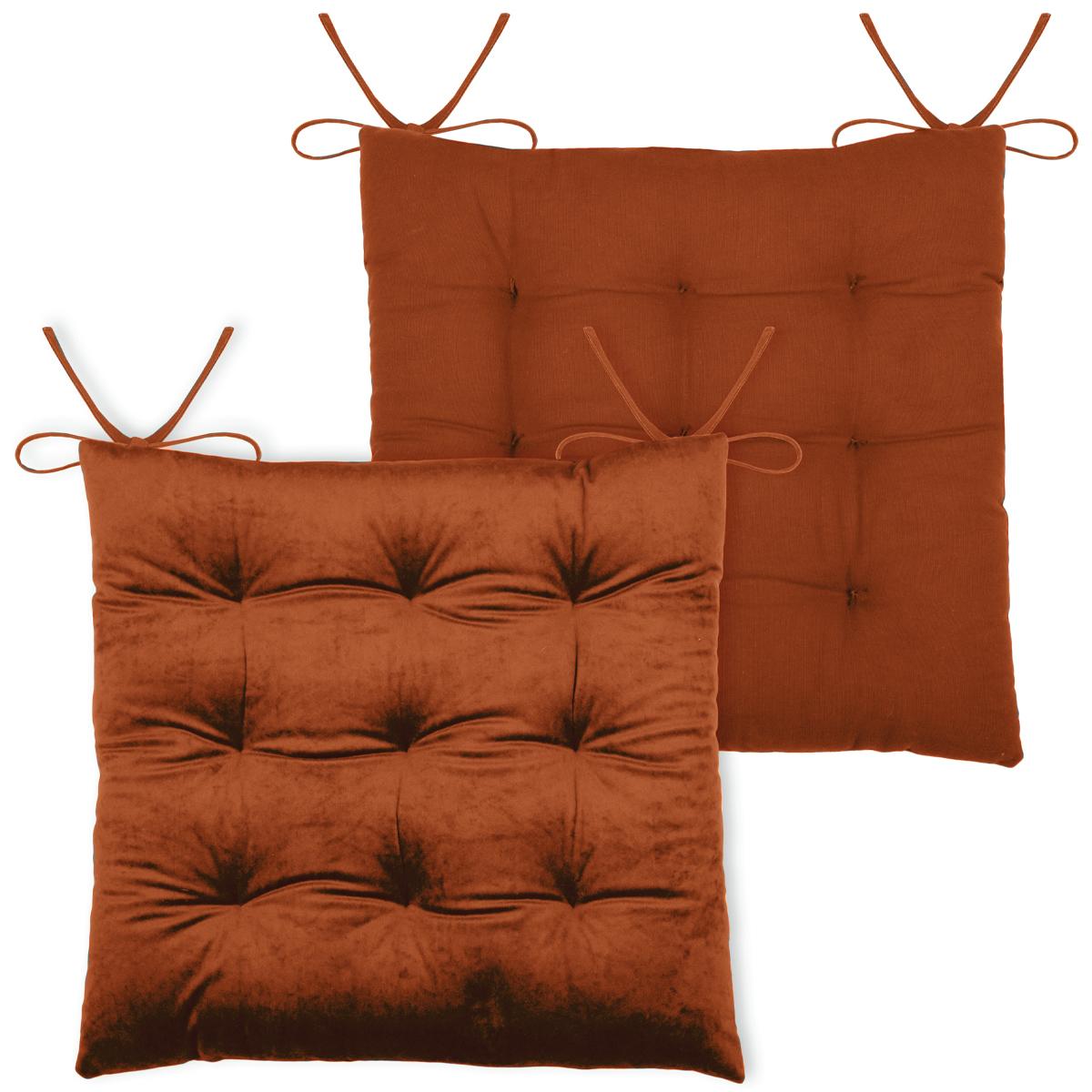 Galette de chaise unie en velours polyester brique 38x38