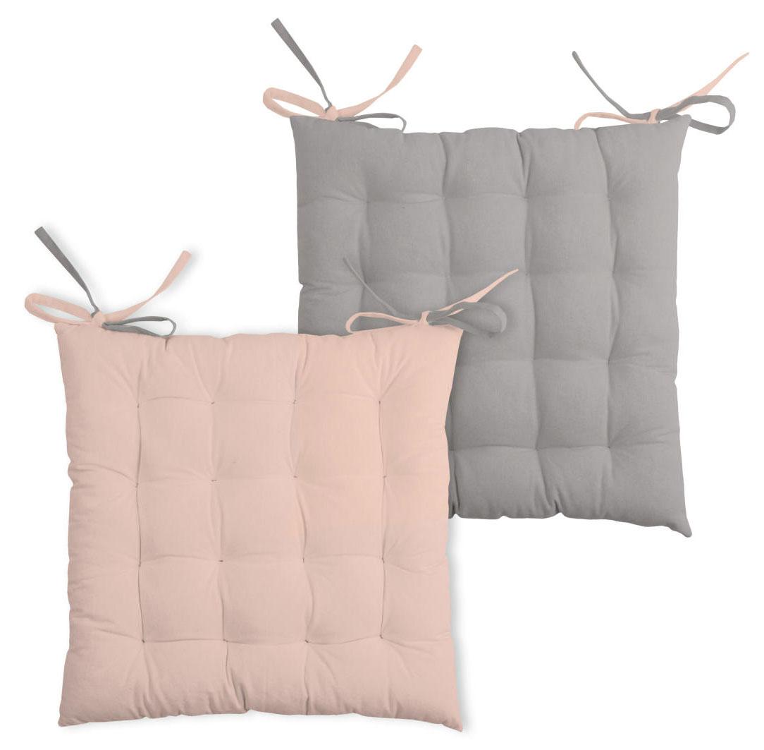 Galette de chaise bicolore coton poudre/souris 40x40