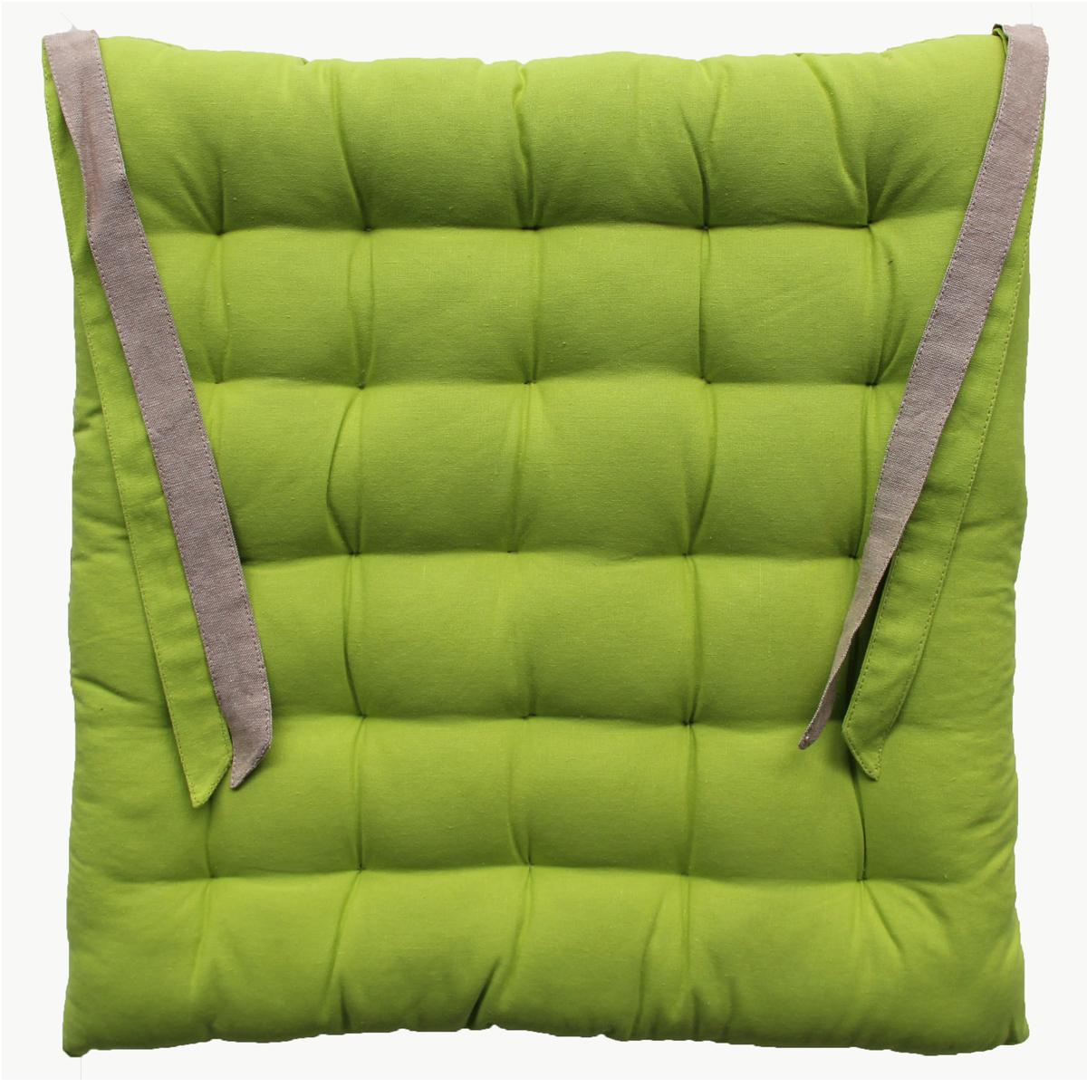 Galette de chaise en coton vert 40x40