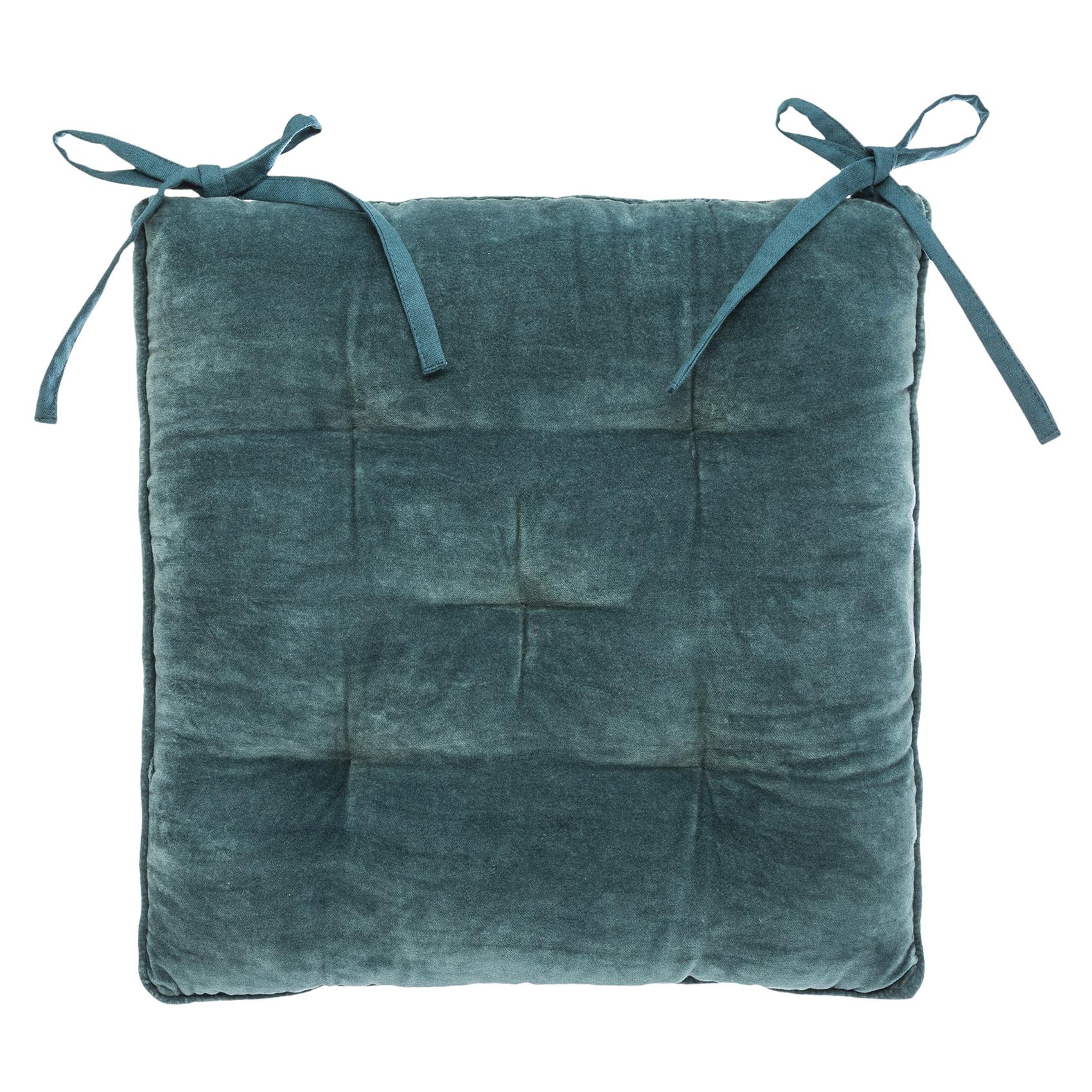 Galette de chaise épaisse en velours coton bleu 38x38