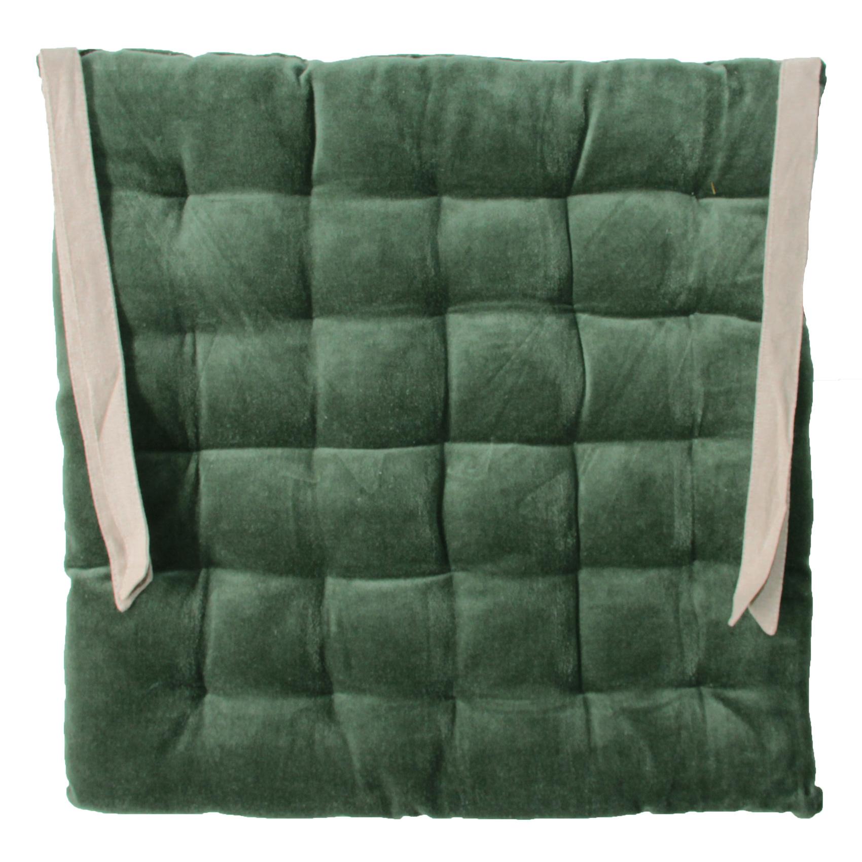 Galette de chaise en velours vert 40x40