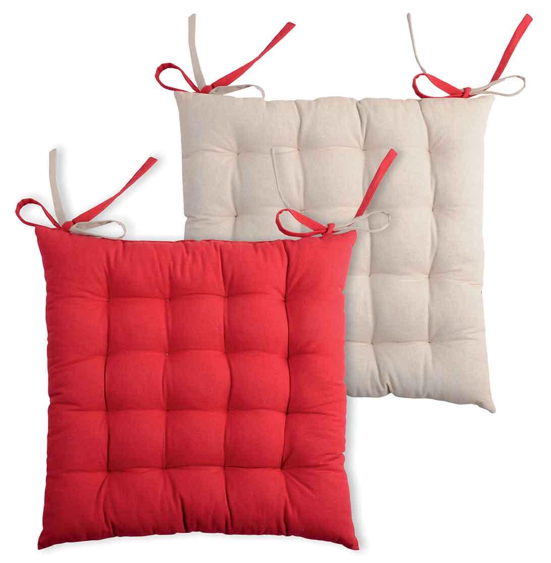 Galette de chaise bicolore coton rouge/lin 40x40