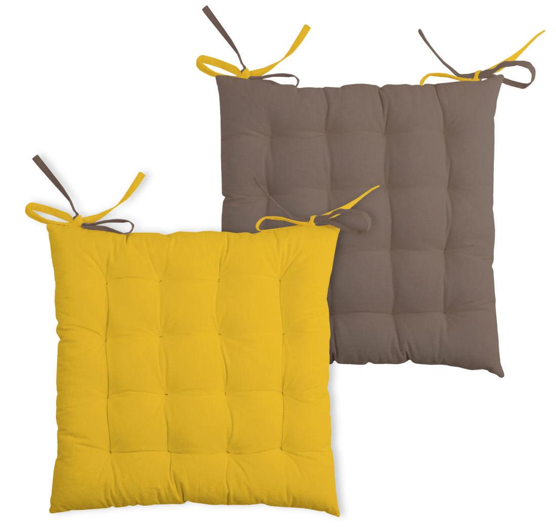 Galette de chaise bicolore coton moutarde/taupe 40x40