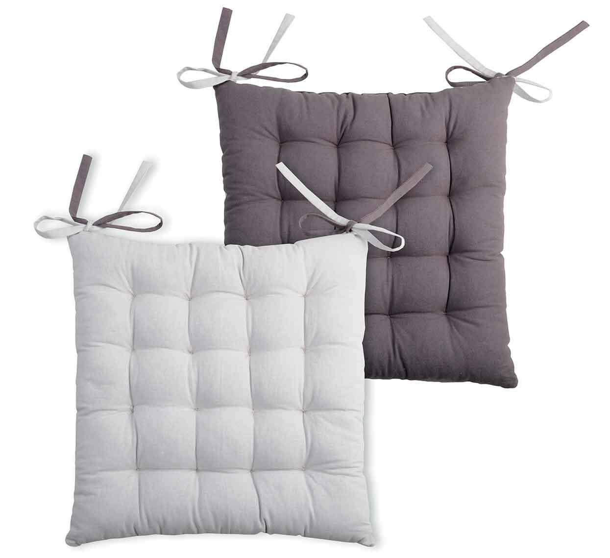 Galette de chaise bicolore coton gris/perle 40x40