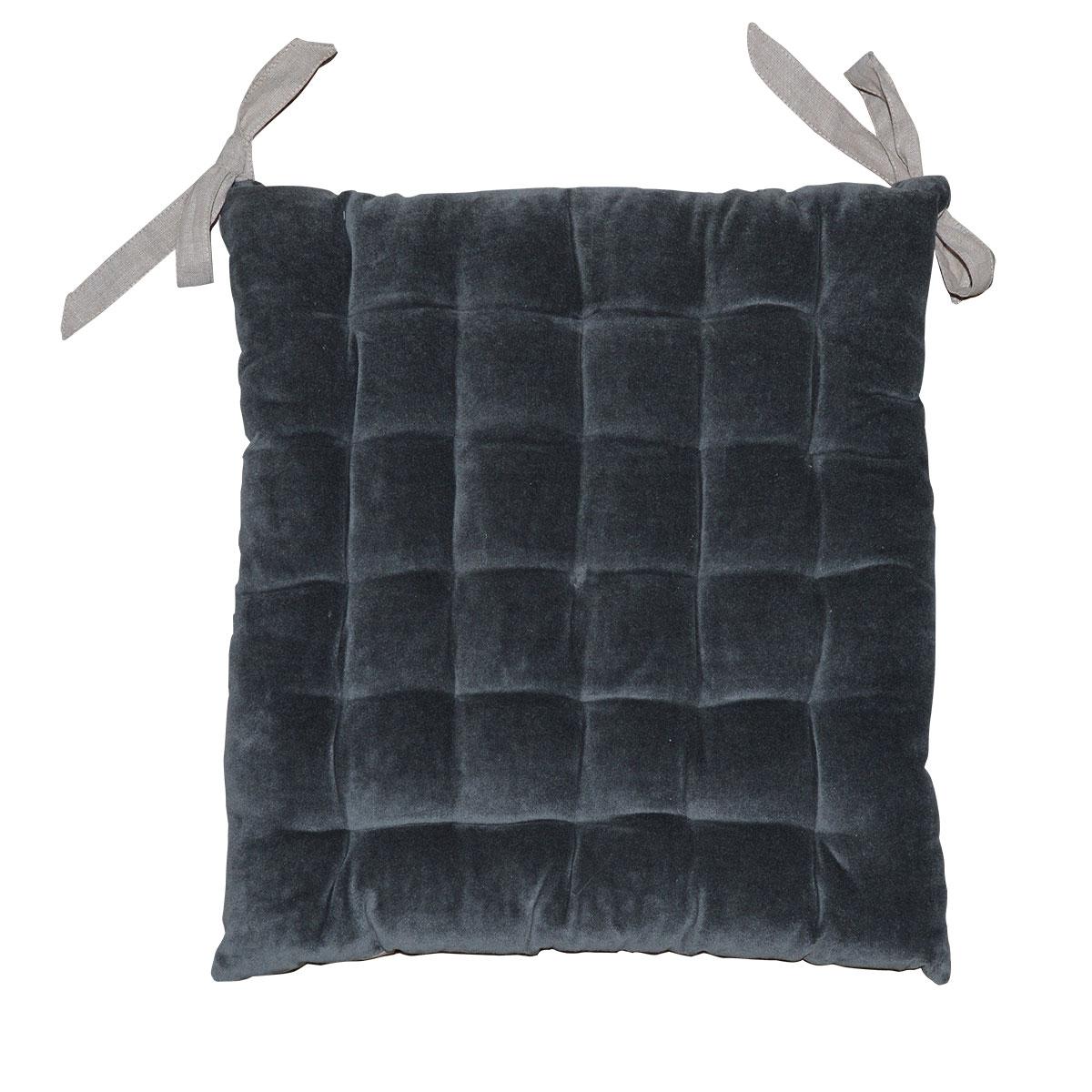 Galette de chaise à effet velours coton anthracite 40x40