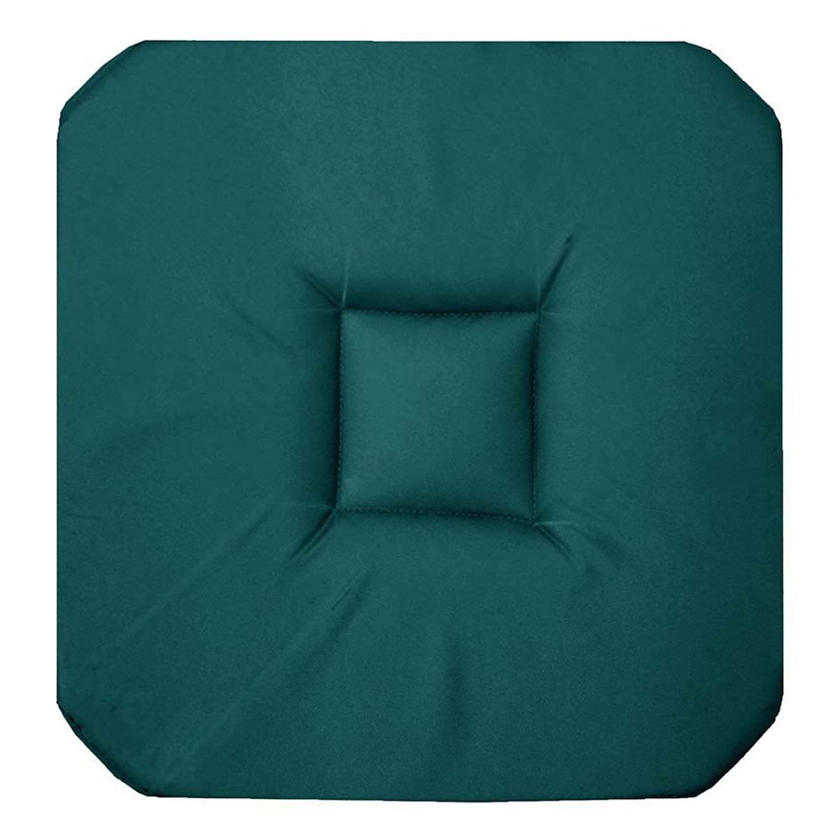 Galette de chaise unie colorée coton emeraude 36x36