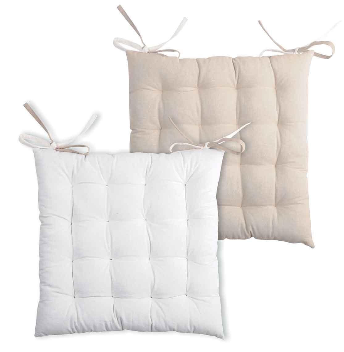 Galette de chaise bicolore coton ecru/lin 40x40