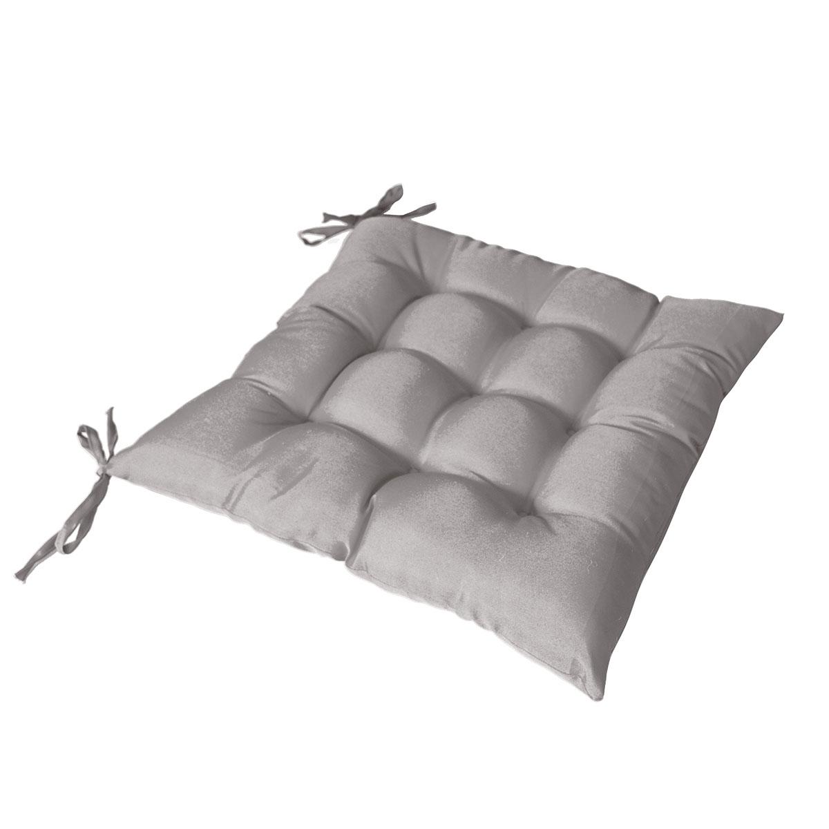 Galette de chaise piquée avec 2 nouettes polyester gris clair 40x40