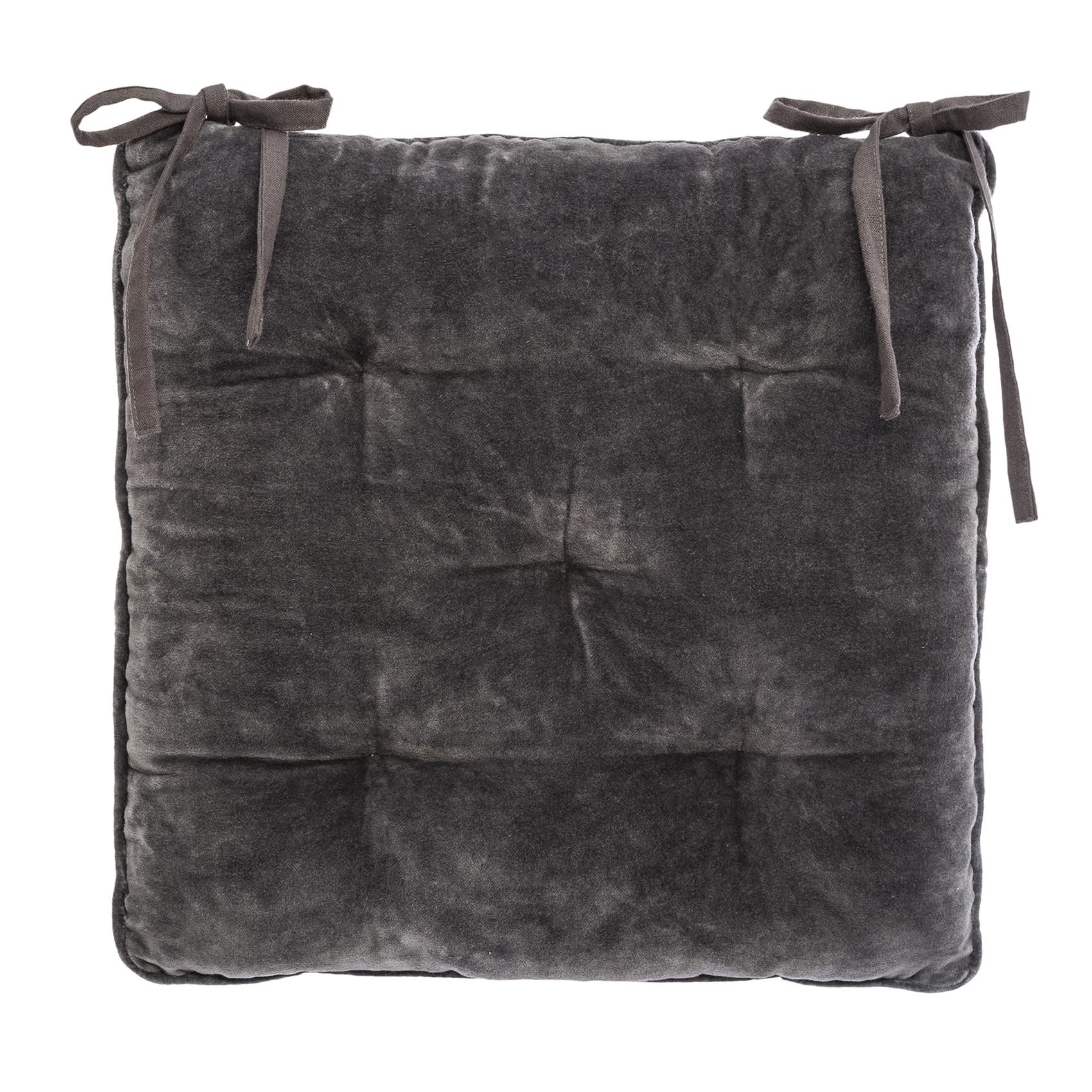 Galette de chaise épaisse en velours coton gris 38x38