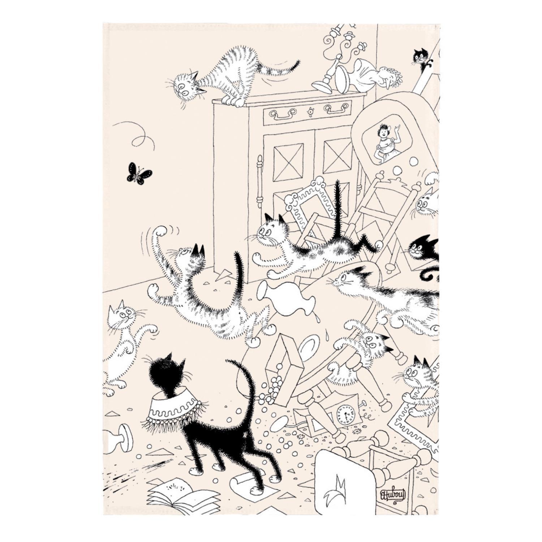 Torchon Dubout La chasse au papillon en coton ecru 48 x 72