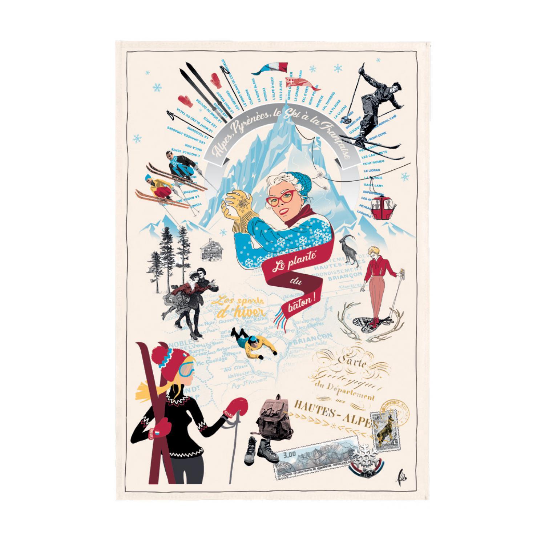 Torchon imprimé Les sports d'hiver en coton ecru 48 x 72