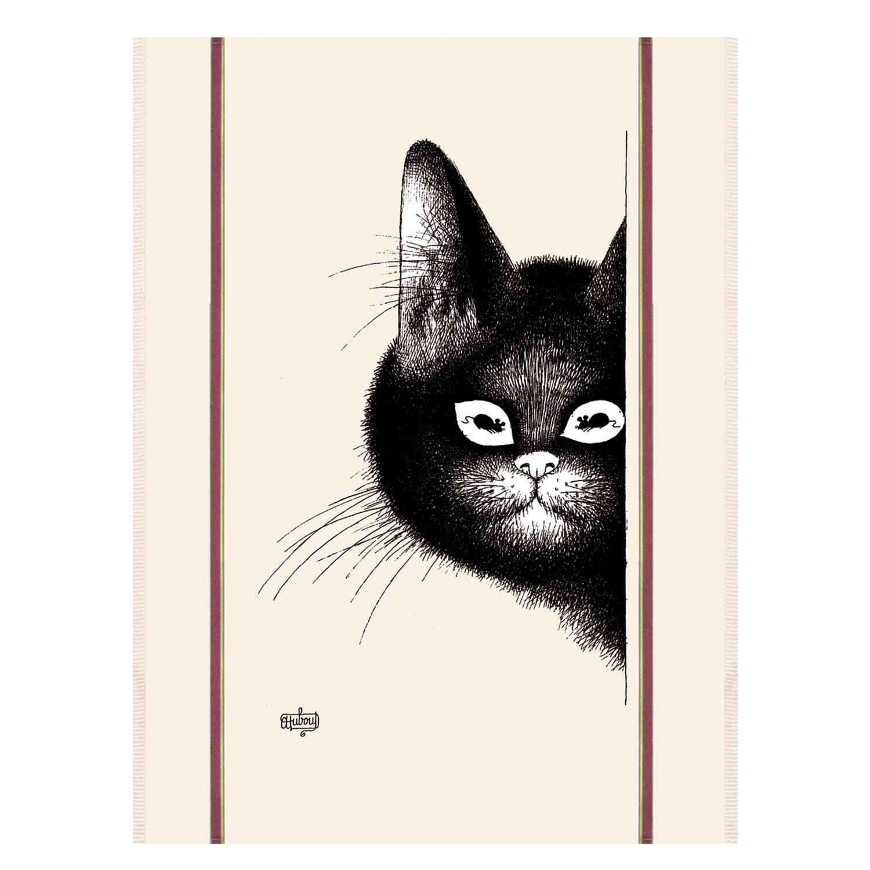 Torchon Dubout chat souris en coton ecru 48 x 72