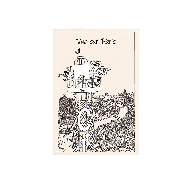Torchon Dubout Vue sur Paris en coton ecru 48 x 72