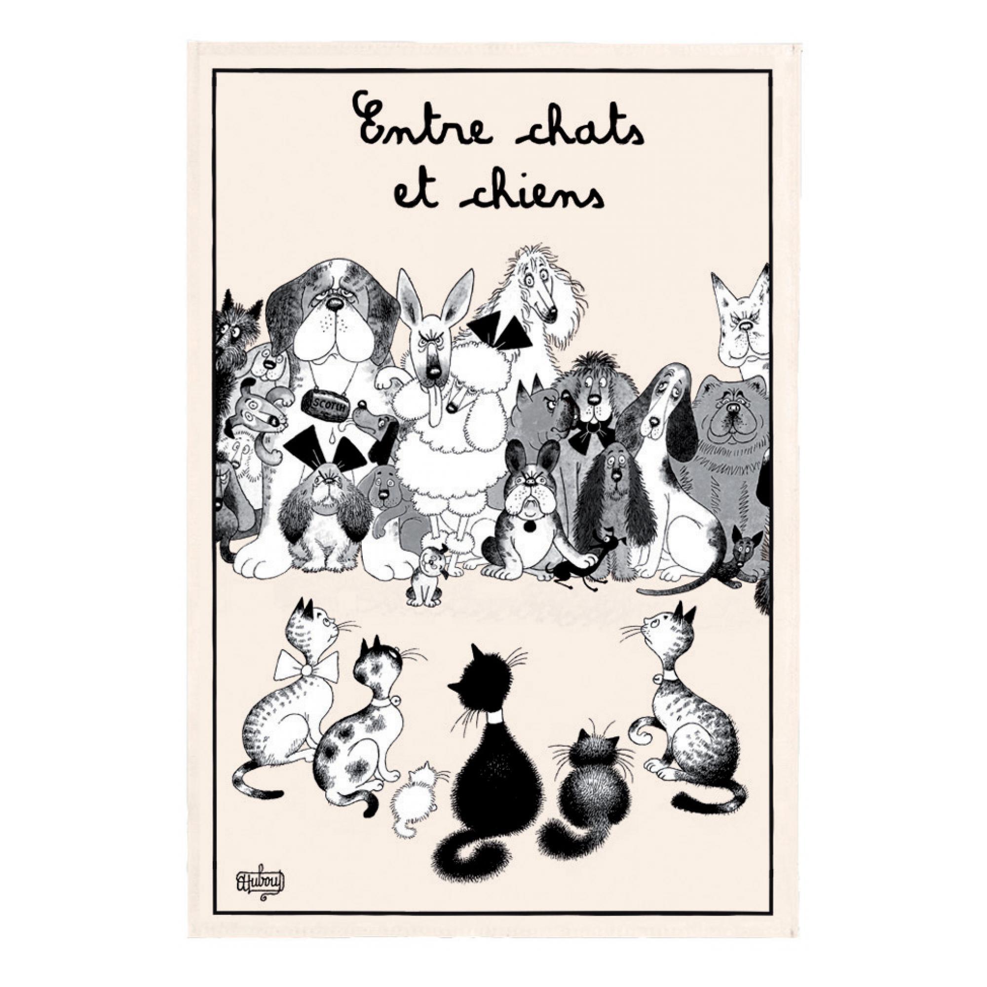 Torchon Dubout Entre Chats et Chiens en coton ecru 48 x 72