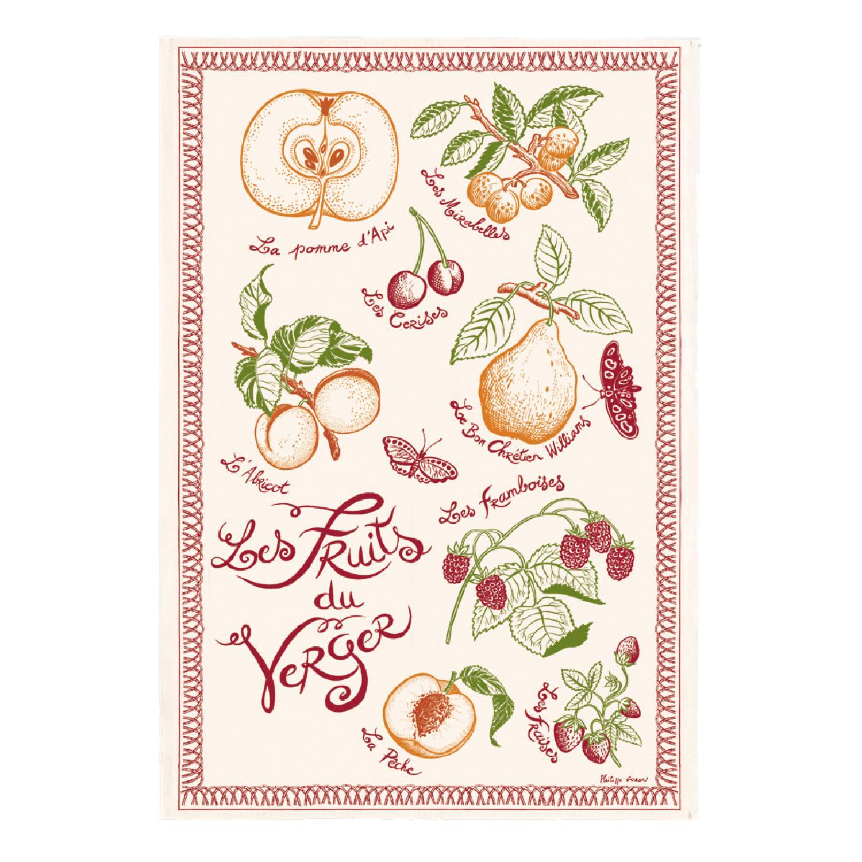 Torchon Imprimé Les fruits du verger en coton ecru 48 x 72
