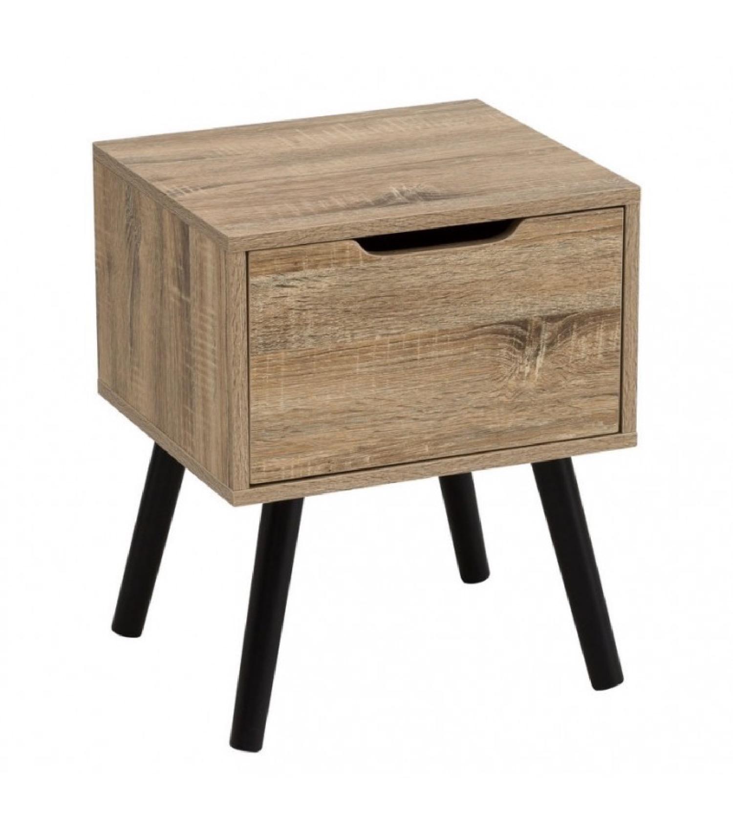 Table de chevet en bois de Palownia et noire H49,5cm