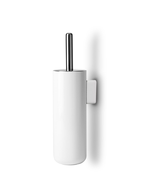 Brosse de toilette murale blanche en acier laqué