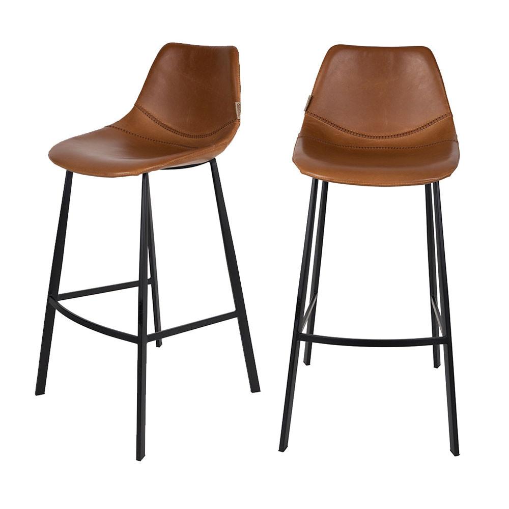 maison du monde 2 tabourets de bar vintage 80cm marron