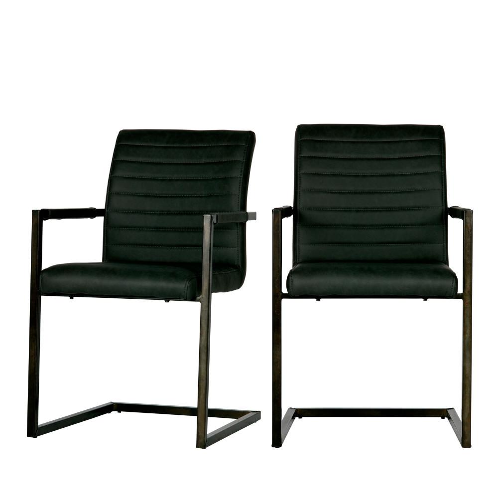 2 chaises avec accoudoirs simili gris anthracite