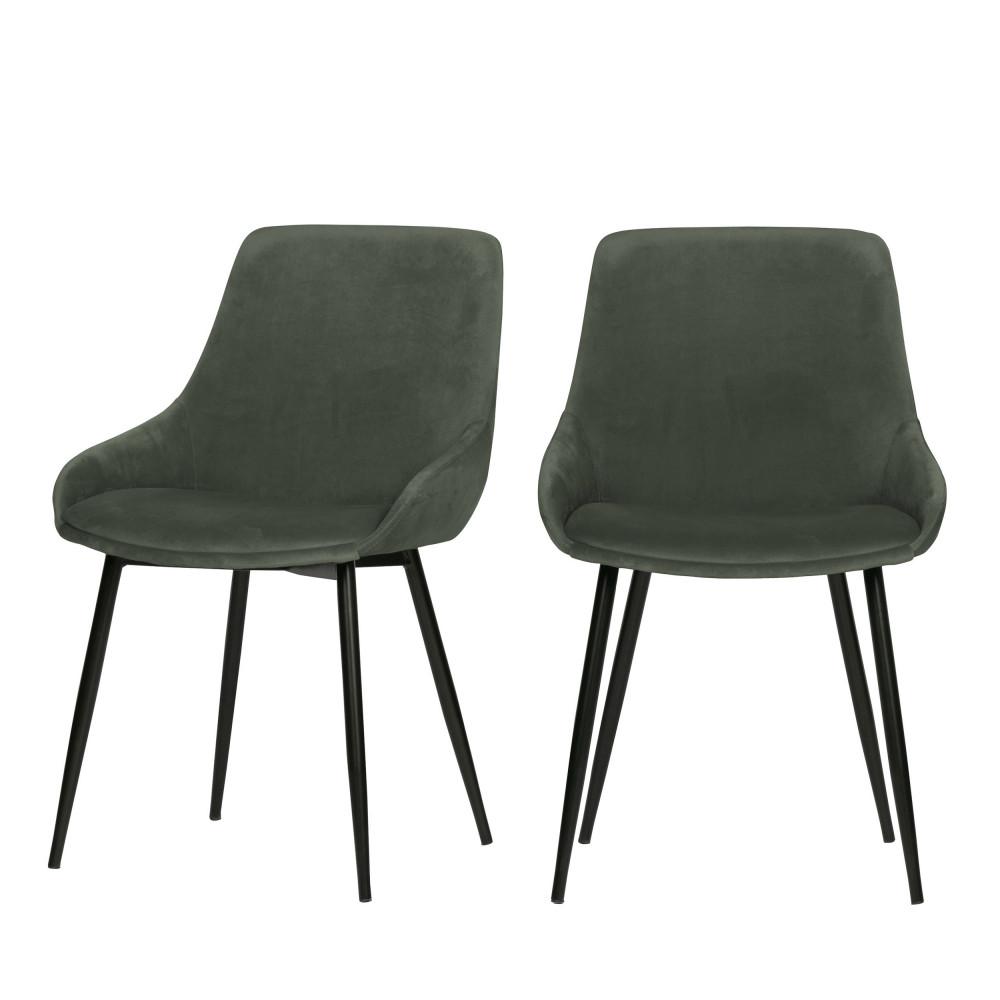 2 chaises enveloppantes en velours vert mousse